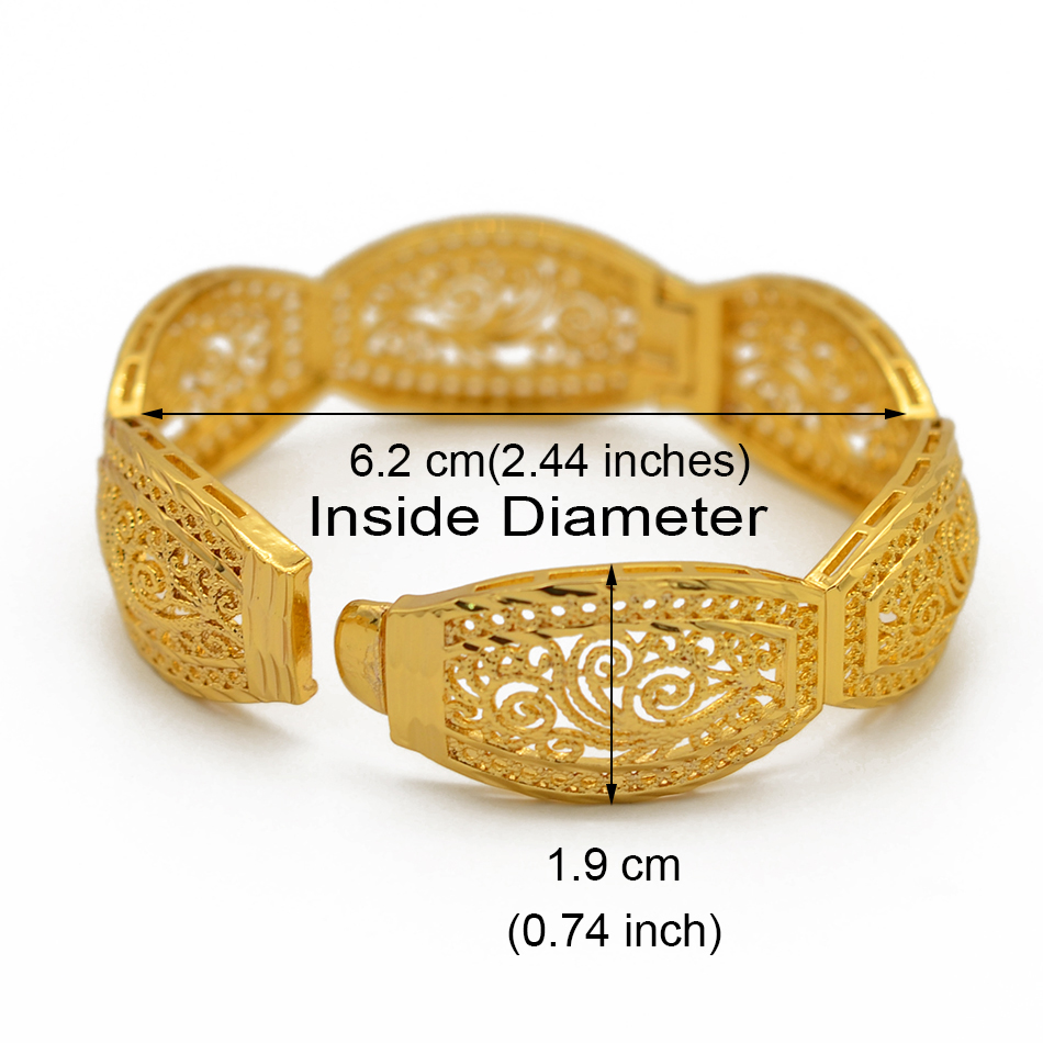 Image 2 - Anniyo 4Pieces/Openable Dubai Bangles Ethiopian Bracelets&Bangles for Women African Wedding Jewelry Arabic Middle East #208406-in Bangles from Jewelry & Accessories