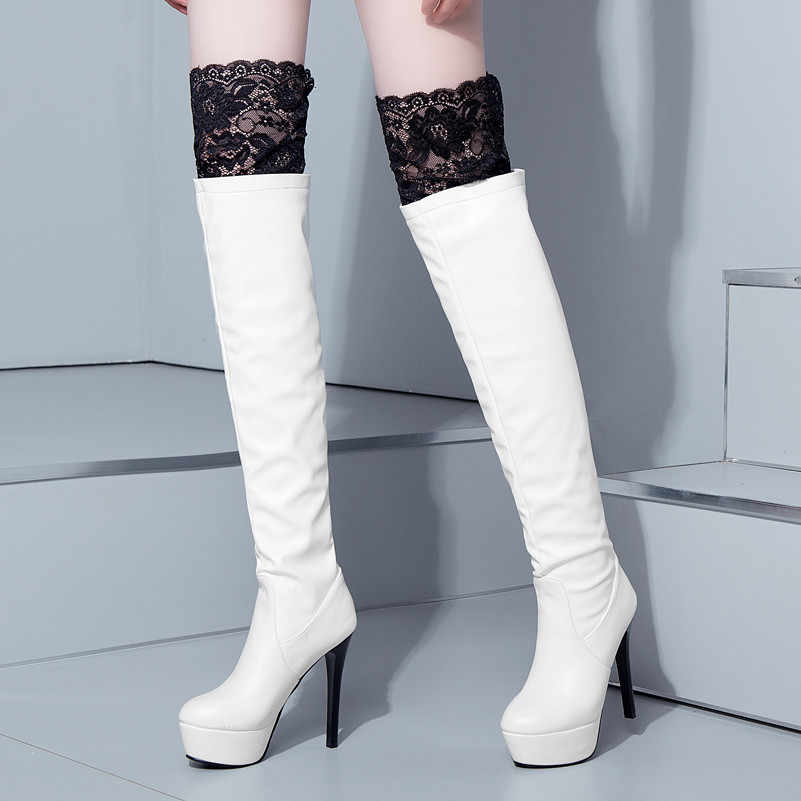 Meotina Winter Thigh High Boots Women Sexy Lace Platform Thin Heel Over The Knee Boots Extreme High Heel Shoes Lady Autumn 33-43