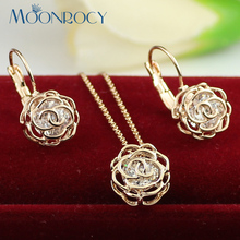 MOONROCY Free Shipping Fashion Crystal Necklace Earring Set Female One Piece Jewelry Wholesale Rose Gold Color Jewelry Set Gift