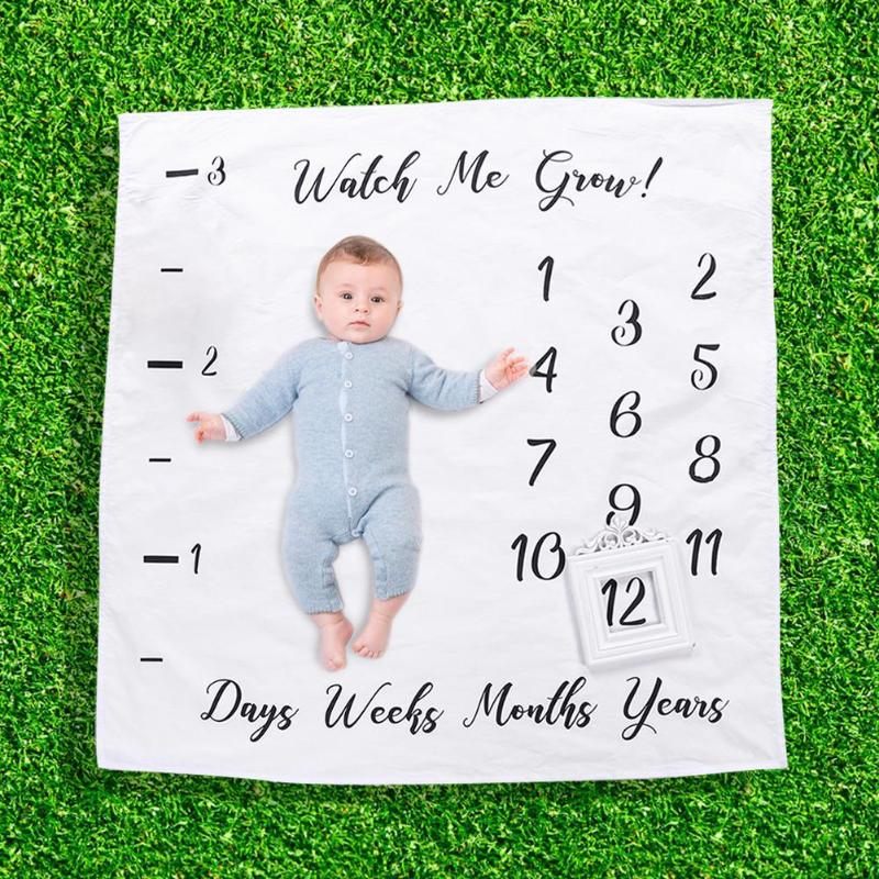 Newborn Baby Photography Blanket With Timeline Infant Photo Banner Background Quilt Props For Baby Photo Shooting Photo Props