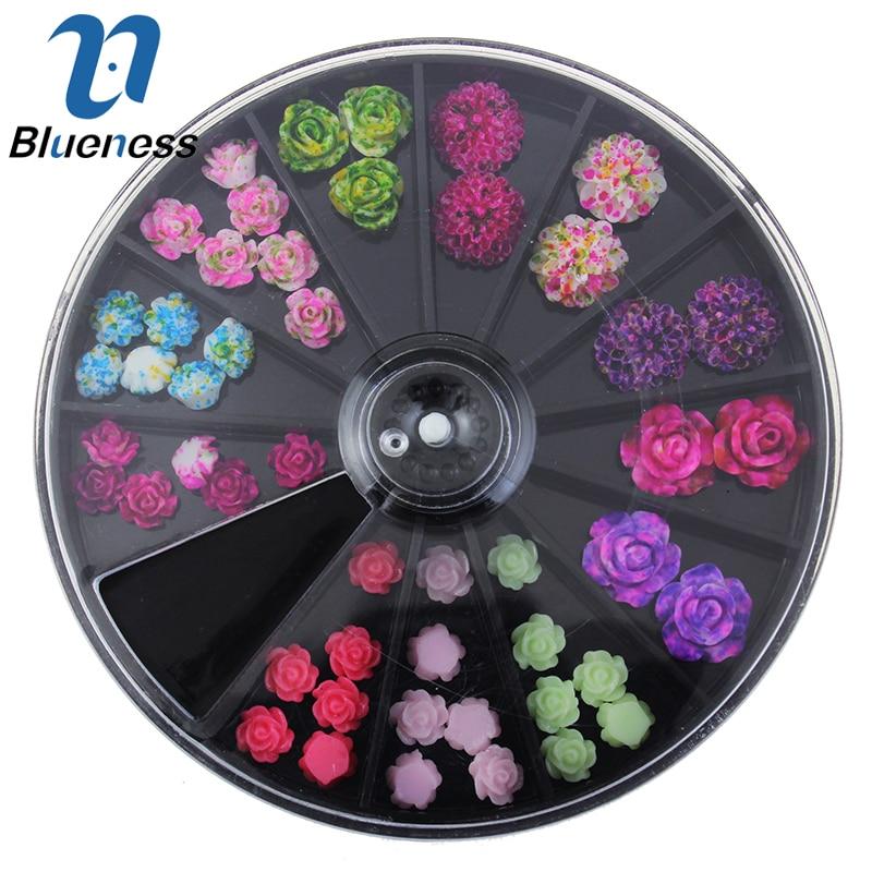 Fekete Nagy méret 8 * 8 cm-es kerék 49Pcs Virágos szegecsekkel ellátott szerszámok körmökre 3D színes gyanta virágtervezés Nail Art dekorációk ZP210
