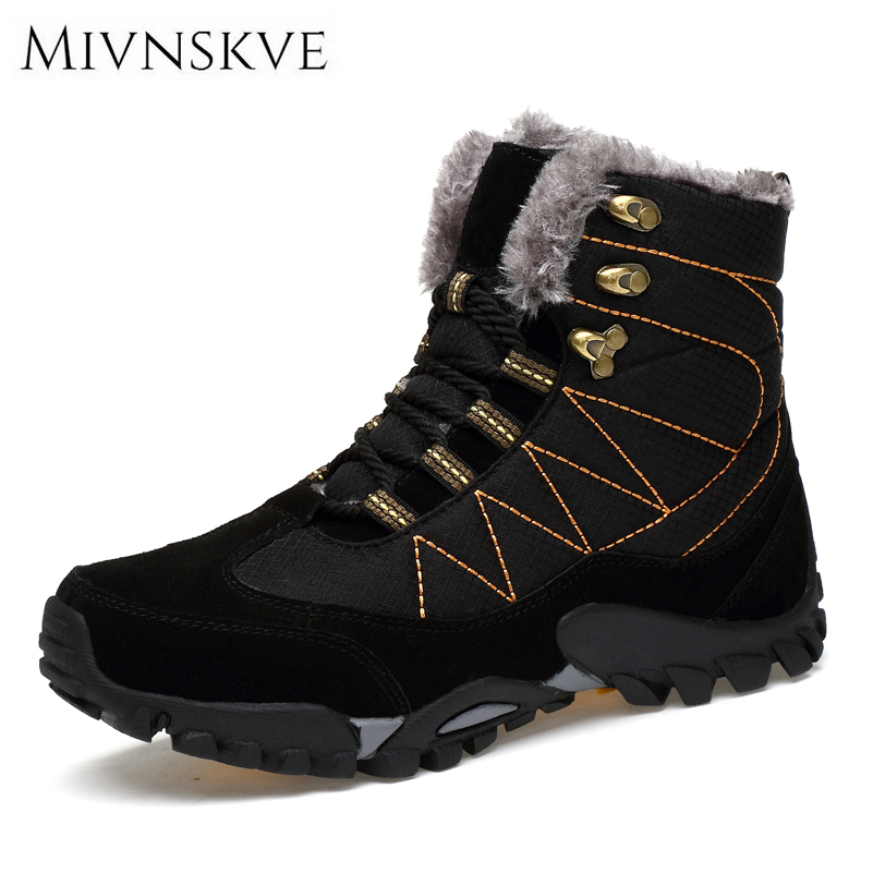 MIVNSKVE Men Boots 2017 Suede Leather Shoes With Fur Warm Men Winter Shoes Non-slip Waterproof Ankle Snow Boots For -40 degrees manitobah перчатки suede mitt with fur trim lg charcoal св серый