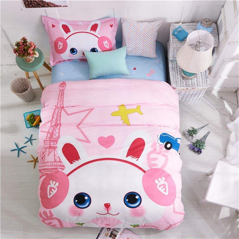 만화 토끼 침구 세트 싱글 트윈 핑크 3 차원 이불 duvet 이불 커버 100 % 면화 아이 bedspreads 동물 침대 시트 3 / 4pc