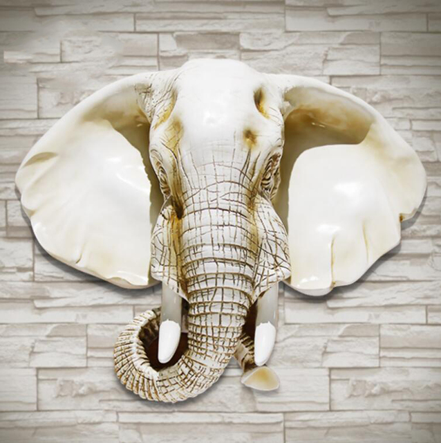 Elephant Head Hanging The Living Room Wall Decor Background Walls Decorated Ornaments Animal Pendant Garden Decoration