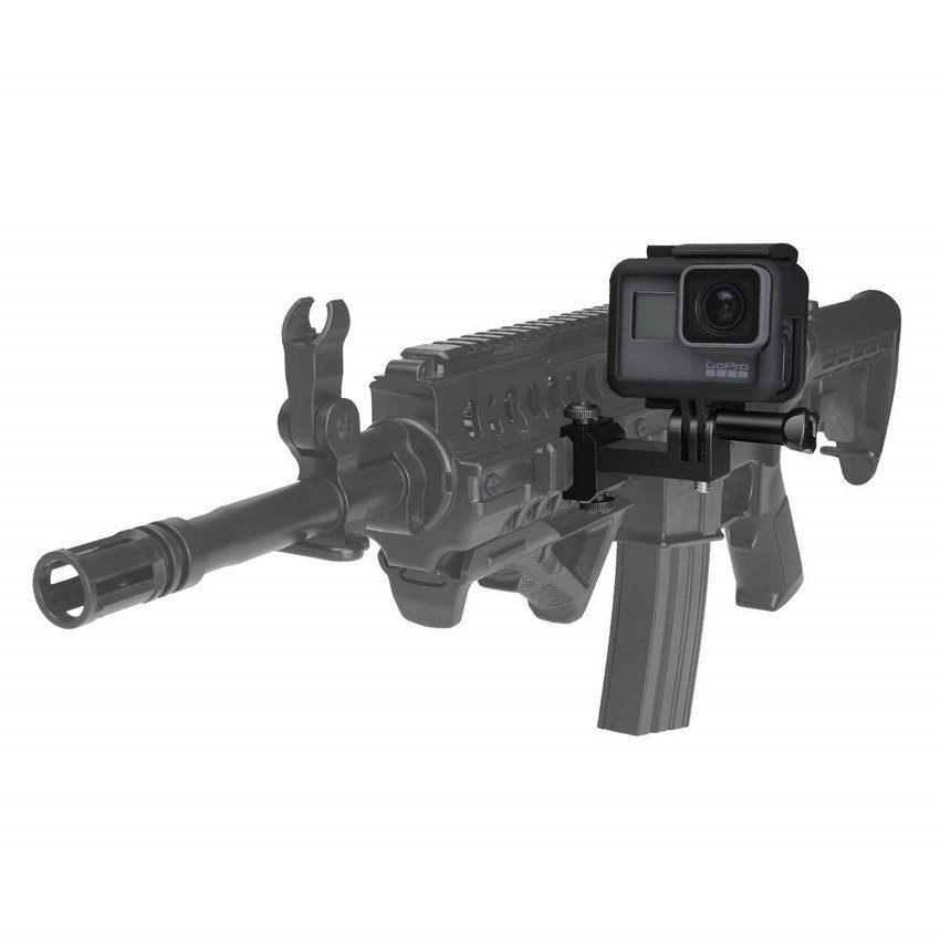 Image 3 - Action Camera Side Gun Mount Picatinny Rail Adapter Kit for Gopro Hero SONY FDX HDR Hunting Rifle Pistol Carbine AirsoftSports Camcorder Cases   -
