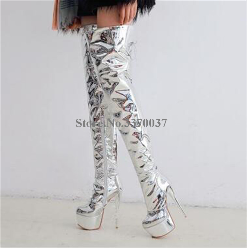 Dames Sexy bout rond argent brevet miroir en cuir sur le genou haute plate-forme talon mince bottes talon mince cuisse longue bottes à talons hauts - 5