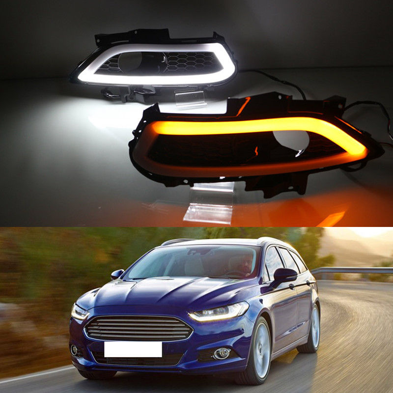 For Ford Mondeo/Fusion 2013 2014 2015 2016 White+Yellow DRL Daytime Running Light Driving Lamp white ice blue led daytime running lights drl fog lamp cover with yellow turn light for ford fusion mondeo 2013 2014 2015 2016