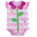 Flor bebé de la raya del mono monos recién nacidos del bebé ropa de la muchacha 100% cotton soft girls clothing