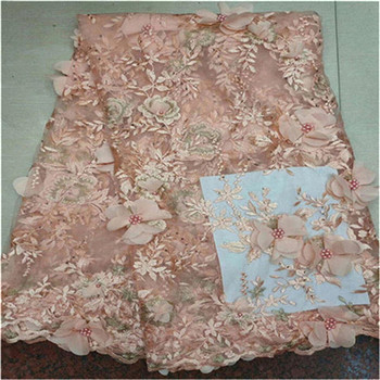 3D Flower High Quality stones Lace Fabric ped Fashion Organza Lace Fabric 2019 African Lace Fabrics with beads for Party Dress
