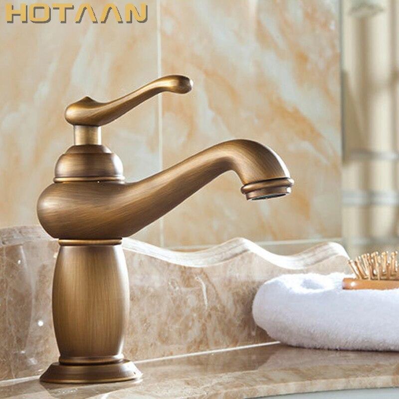 Torneira da bacia do banheiro bronze antigo misturador de bronze cobre maciço luxo estilo europa torneiras para guindaste YT-5061