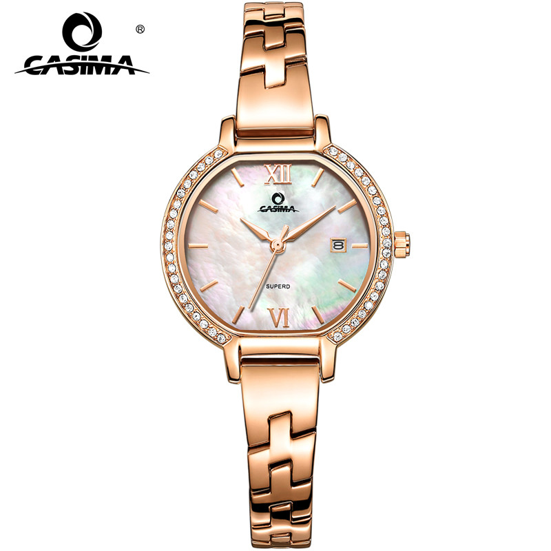 CASIMA Luxury Brand Fashion Casual Stainless Steel Leather Watchband Waterproof Calendar Display Quartz Watches for Women 2614