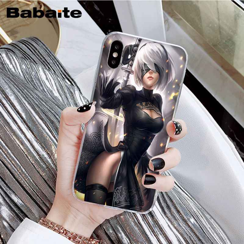 Babaite Nier Automata Gadis Anime Baru Tiba Cell Phone Case untuk Apple Iphone 8 7 6 6S Plus X XS Max 5 5S SE XR Ponsel
