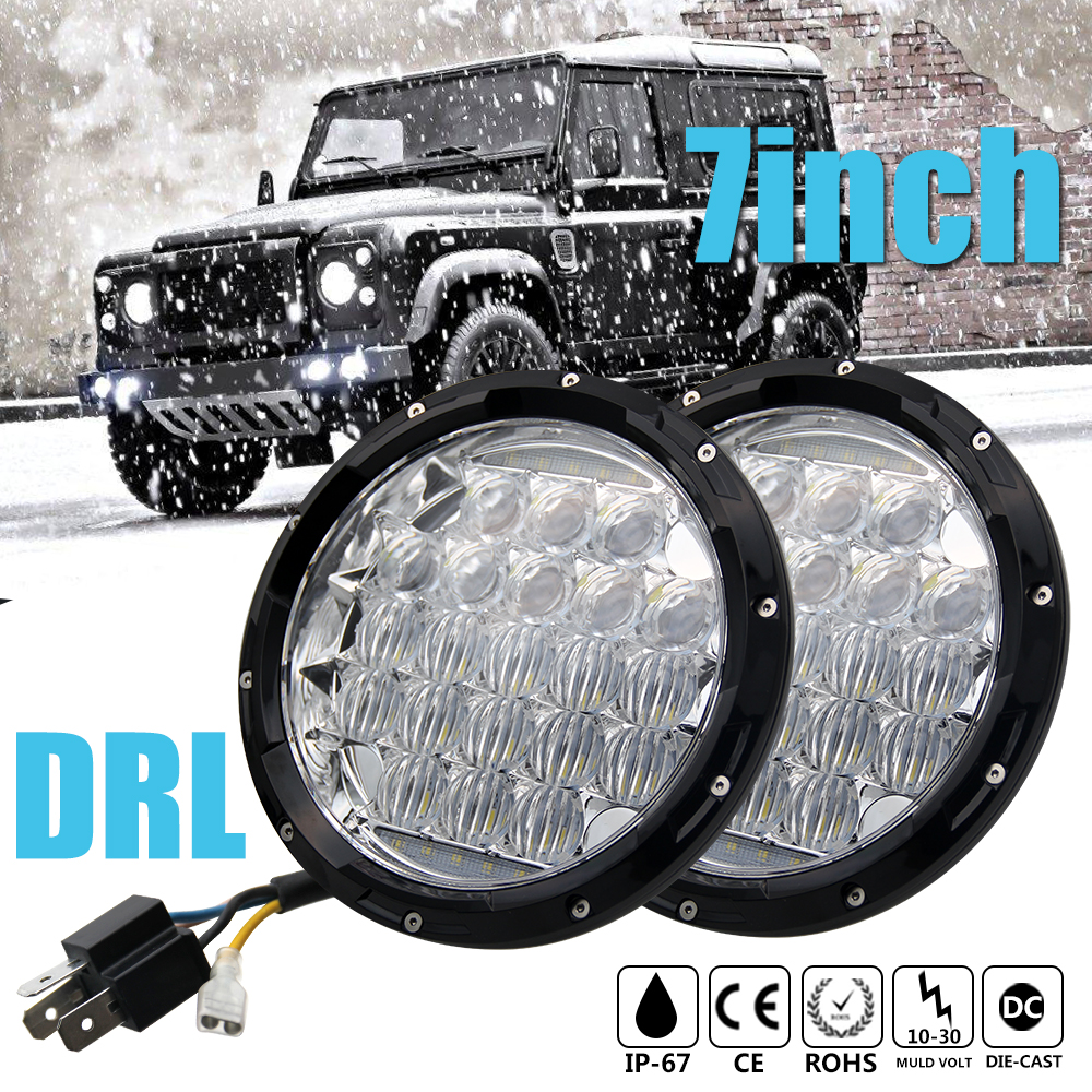 CO LIGHT Led Headlight 7 70W Round Car Headlight High Low 12v 24v DRL For Lada 4x4 urba Jeep Wrangler Passat Toyota Car Styling