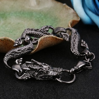 Black Fire Dragon Beads Bracelets Men Vintage Halloween Jewelry Alloy Metal Bracelets&Bangles Homme Drop Shipping