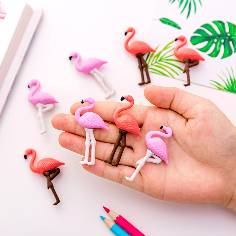 4 Pcs/lot Lovely Flamingos Cartoon Rubber Pencil Eraser Students Stationery School Supplies Material Escolar Erasers For Kids