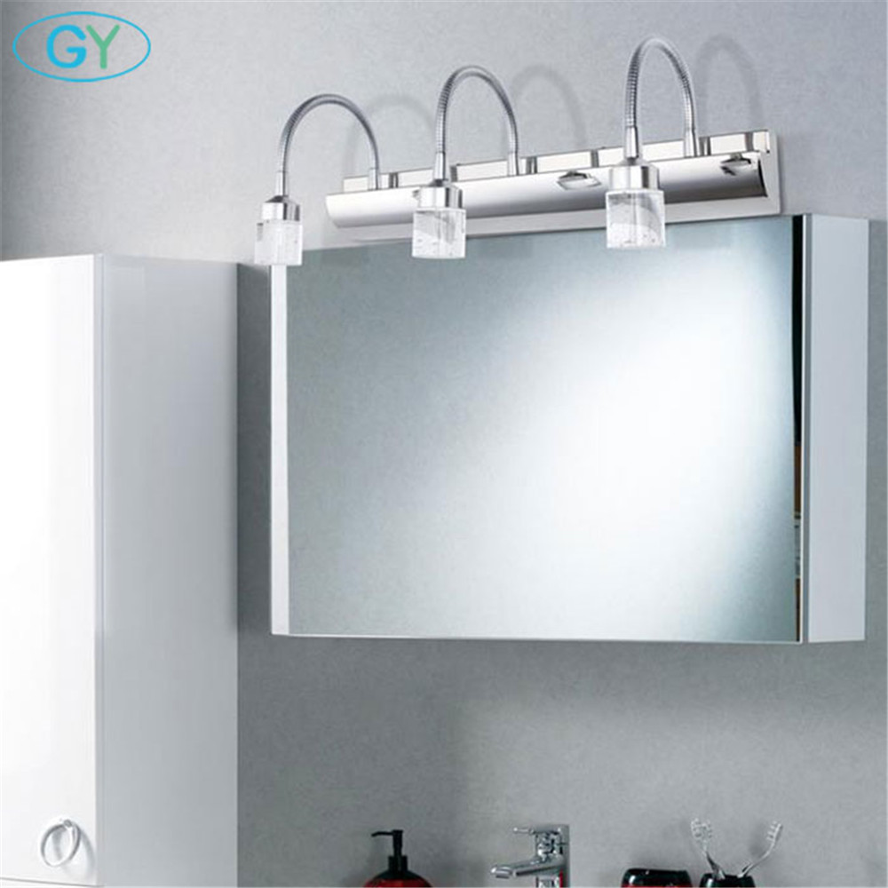 Modern Bathroom LED Crystal Mirror light, Ajustable gooseneck makeup vanity lighting, led miroir coiffeuse table de maquillageModern Bathroom LED Crystal Mirror light, Ajustable gooseneck makeup vanity lighting, led miroir coiffeuse table de maquillage