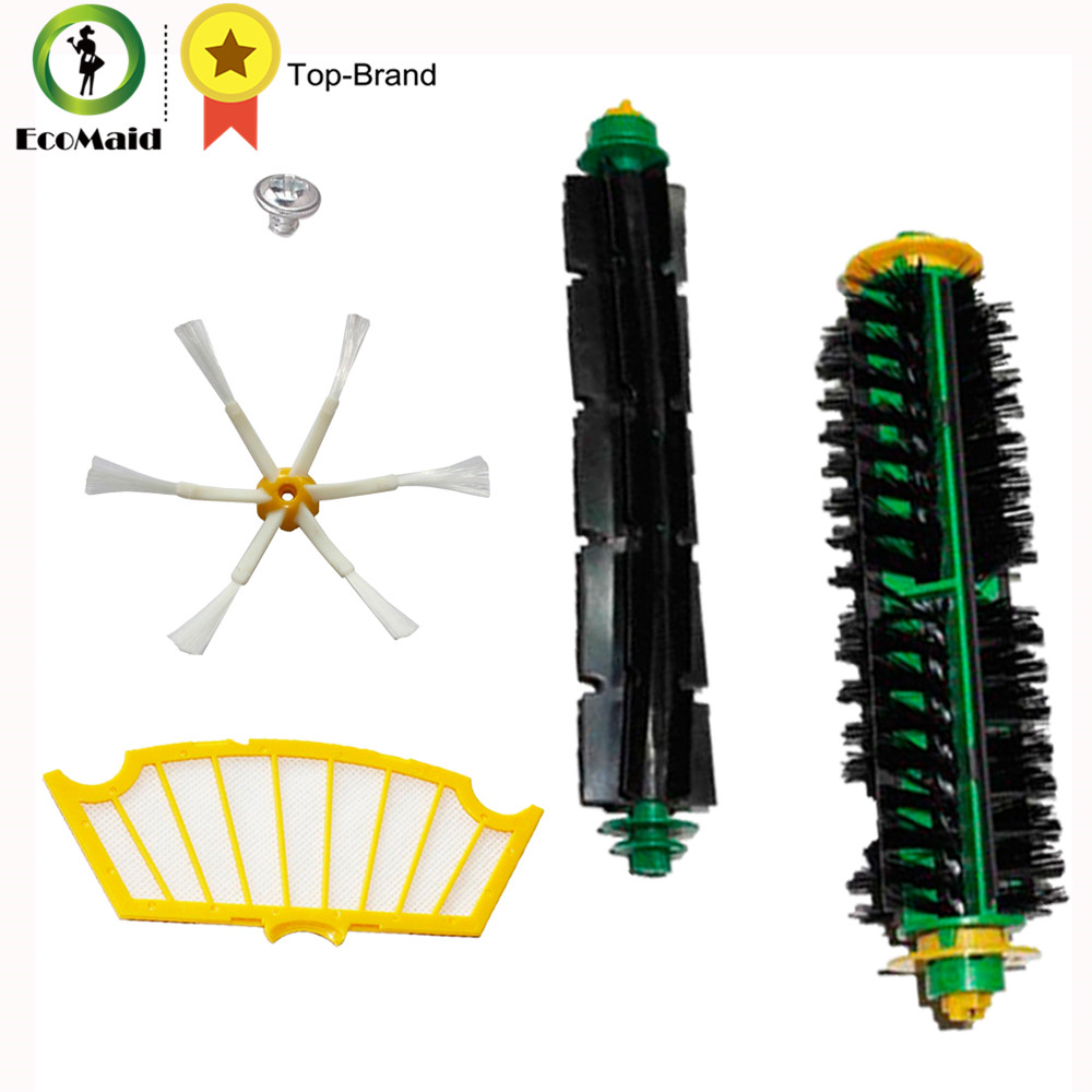 Brushes Set for iRobot Roomba 500 and 600 Series Bristle Brushes+Flexible Beater Brushes+Side Brushes 6-Armed+ Screw+Filter Set bristle brush flexible beater brush fit for irobot roomba 500 600 700 series 550 650 660 760 770 780 790 vacuum cleaner parts
