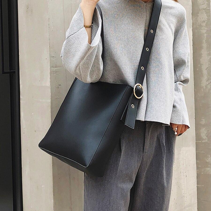 Модные композитные Сумки из искусственной кожи для женщин, повседневные однотонные большие вместительные сумки ведро для женщин, простые винтажные сумки мессенджеры, новинка|Сумки с ручками|   | АлиЭкспресс