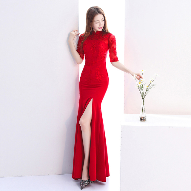 Chinese Fashion Dress Cheongsam Red Fishtail Wedding Qi Pao Sexy Lace Qipao  Traditional Evening Gown Bridesmaid 36ced8a6f6d3
