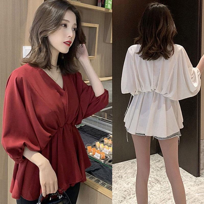 Women Lantern Sleeve Elastic Waist   Blouses     Shirts   Spring V-neck Elegant   Blouses   Top Office Lady Solid Color Female Chiffon Blusa