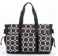 Golden supplier multifunction high quality durable black dot print fabric 600D  diaper bag with three big front pocket