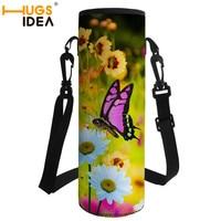 HUGSIDEA Neopreen 1000 ML Vlinder Water Bottle Carrier Geïsoleerde Cover Bag Holder Strap Pouch Outdoor Thermoskan Cup Home Decor-in Waterfles en kop toebehoren van Huis & Tuin op