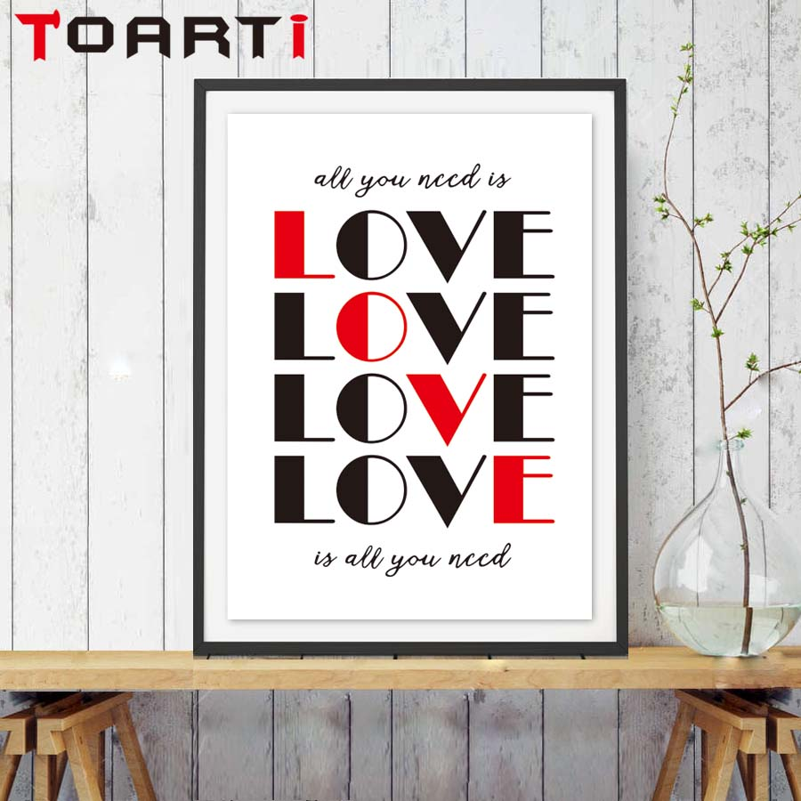 romantic lover all you need is love quotes poster no frame canvas