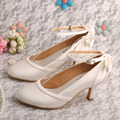 "Wedopus Women Evening Party Round Toe Ankle Strap Satin Bow 2.5"" Heel Wedding Bridal Shoes"