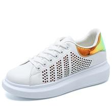 купить Outdoor Sneakers Women Casual Shining flat Walking Shoes New Fashion Lightweight  Breathable white good Shoes JINBEILE по цене 1095.57 рублей