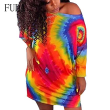 FUDA Autumn Sexy Women Half Sleeve Colorful Tie Dye Beach Retro Dresses Fashion O Neck Casual Loose Short Dress Femme Vestidos