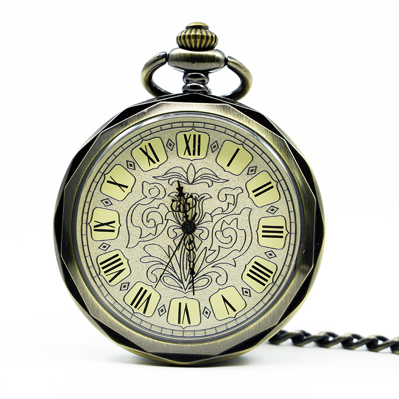 10pcs/lot Vintage Bronze Roman Numbers Open Face Pocket Watch Mechanical Automatic Self Wind With 30 cm Chain Fob Watches vintage transparent skeleton open face mechanical pocket watch men women fashion silver hand wind watch chain pendant gift