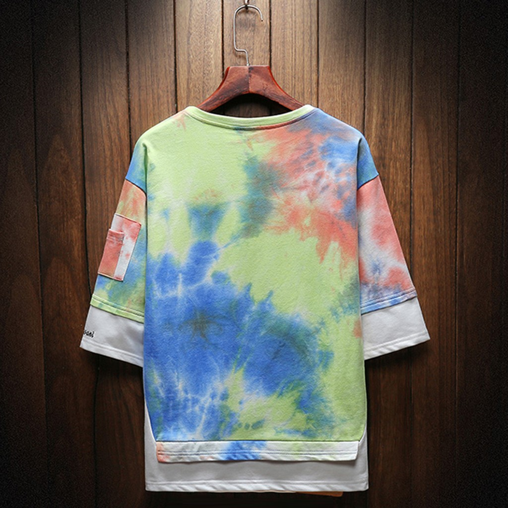 2019 New Hot Men Summer New Style Fashion Printed Tie-Dyed Fake Two Comfortable Top M-5XL Instyle Vetements de mode pour hommes 16