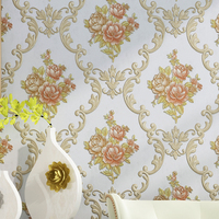 Pastoral 3D Embossed Floral Damask Wallpaper Non Woven Wall Paper For Bedroom Living Room Damascus Wallpaper