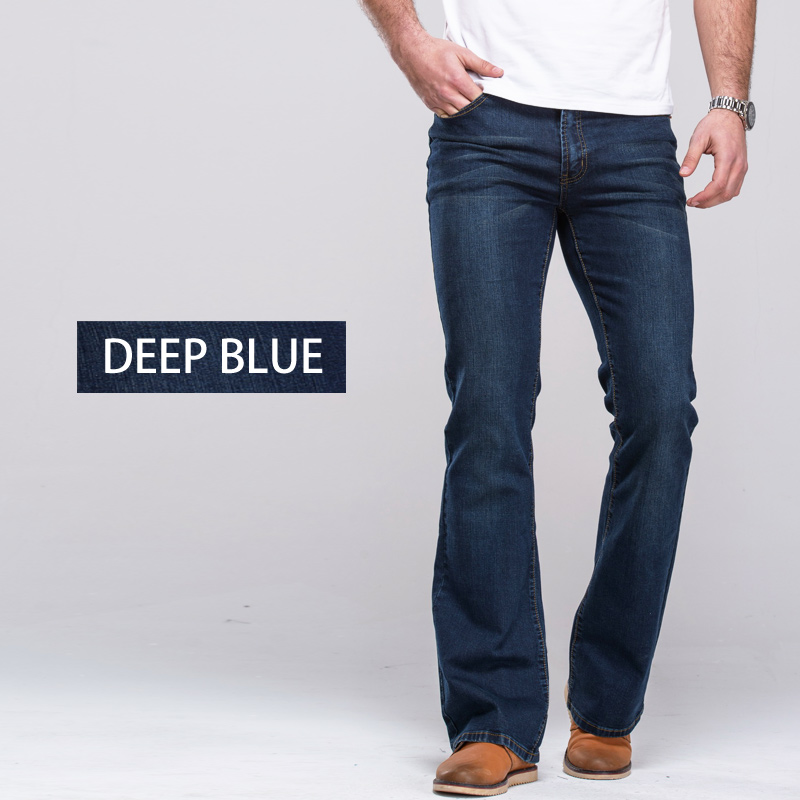 Image 3 - Mens Boot Cut Jeans Slightly Flared Slim Fit Famous Brand Blue Black jeans Designer Classic Male Stretch Denim jeans-in Jeans from Men's Clothing
