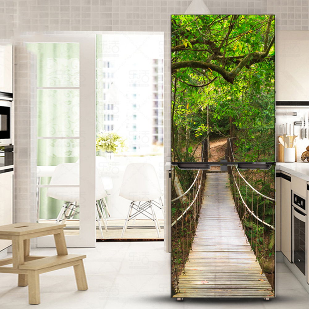 yazi Bridge Landscape Fridge Sticker PVC Refrigerator Door Stickers ...