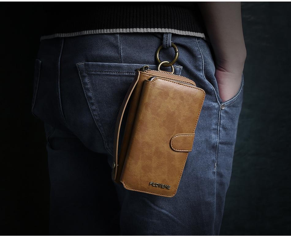 Floveme vintage leather wallet phone case for iphone 7 7 plus 6 6 s plus retro torebka slot kart pokrywa dla samsung s7 s8 coque 19