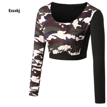 Sexy Women Long Sleeve Crop Runnin Shirts Sportswear Base Layer Tops Outdoor Camouflage PRO Athletic Apparel Small Middle Large