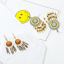 Bohemia sunflower dream catcher earring indian jewelry Boho ethnic long acrylic rhinestone crystal beads tassel earrings women