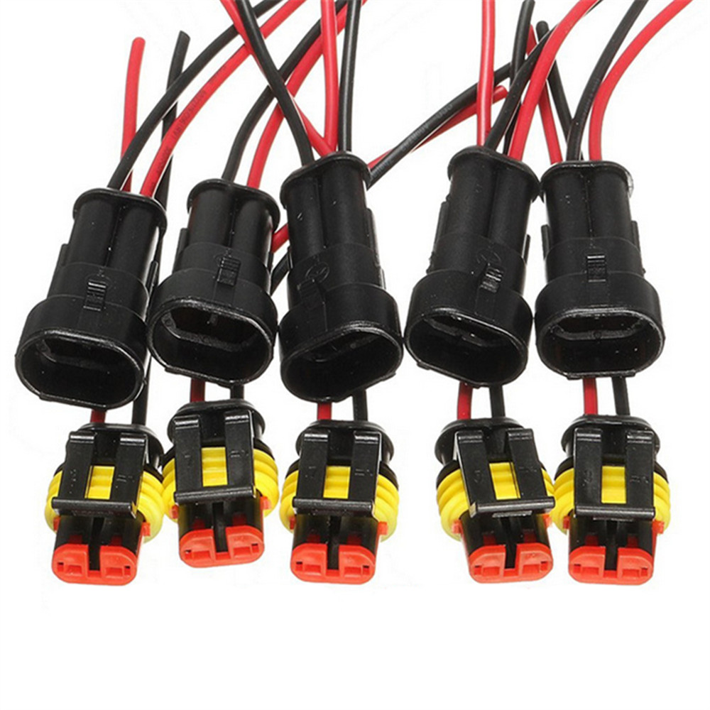 5sets Kit 2 Pin Way AMP Super Seal Waterproof Electrical Wire Connector Plug For Car Auto 2 Pin Way Sealed