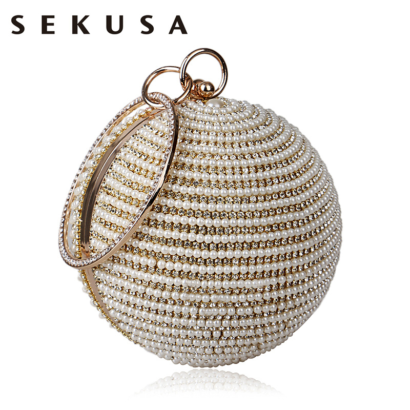SEKUSA Beaded Women Evening Bag Metal Diamonds Purse Small Day Clutch Chain Shoulder Crystal Handbags For Party Wedding diamonds small clutch purse crystal beaded handbags chain shoulder evening finger ring bags for wedding party bag red gold blue