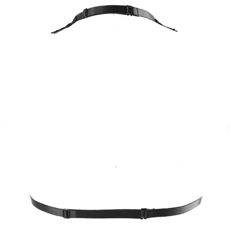 Arnés de encaje Sexy para liguero para mujer cinturón negro cintura elástica medias ahuecadas Goth Punk mariposa Body Cage briefs Lencería