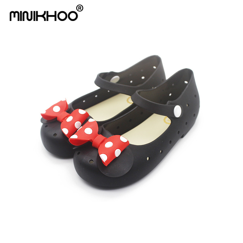 Mini Melissa Point Bow Girl Jelly Sandals 2018 New Children Shoes Frosted Princess Sandals Melissa Sandals Breathable Sandals