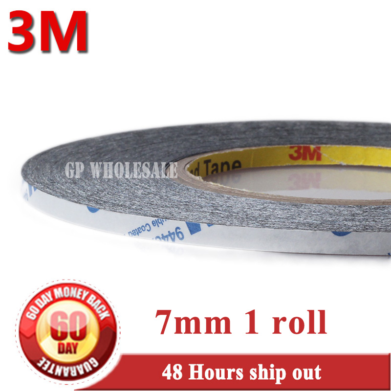 (7mm*50M *0.15mm) Double Adhesive Tape for Phone, Tablet, Mini Pad Touch Screen, LCD Glass, Panel Bond, Original 3M 9448 Black 15mm wide 50m long 3m double sided adhesive black ribbon tape for iphone ipad galaxy huawei tablet touch panel lcd bond