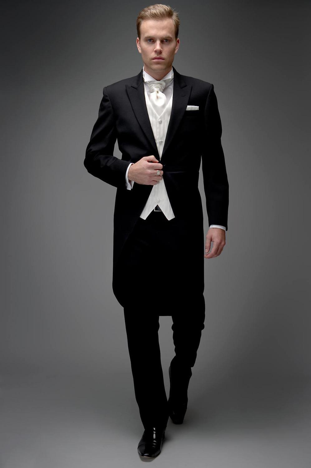Fashion Men Suits Brand New Black Tailcoat Groom Tuxedos Wedding Dress Bridegroom Suit Best Man