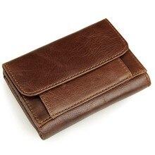 Korean Fashion Retro Card Open Mouthed Dermis Bags Men Solid Color Short Style Genuine Leather Wallet