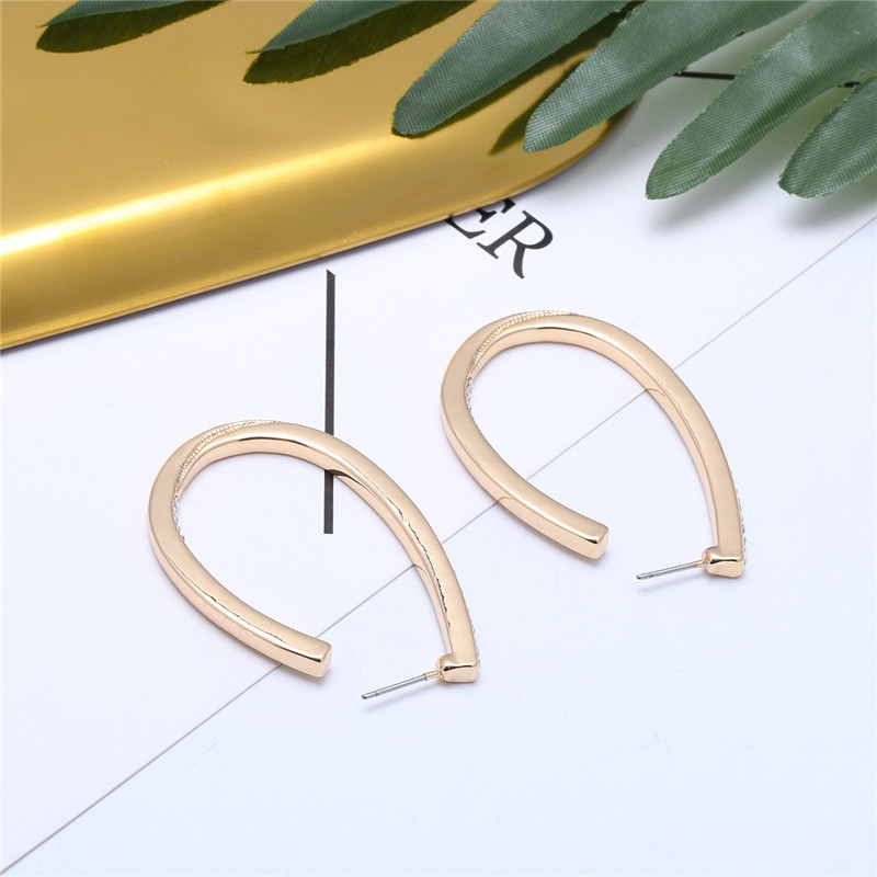earrings metal gold fashion Personality tide Minimalism temperament Earring alloy U shape Two-sided earrings stainless steel bri