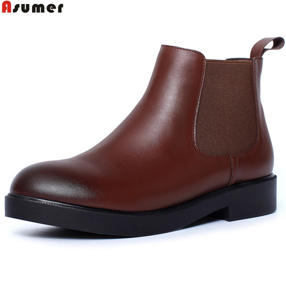 ASUMER black brown fashion women boots round toe genuine leather boots square heel cow leather ankle boots med heel shoes asumer black white fashion new women boots pointed toe genuine leather boots zipper cow leather ankle boots low heel shoes