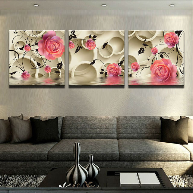 Wall Art Painting Canvas Prints Home Decor Modern Paintings For Living Room 3 Piece Clic Flower