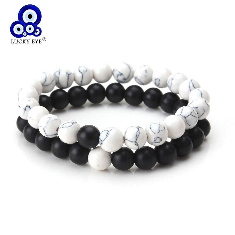 2Pcs/Set Couples Bracelet Distance Black White Stone Yin Yang Beaded Bracelets Men Women Fashion Jewelry Lucky Gifts