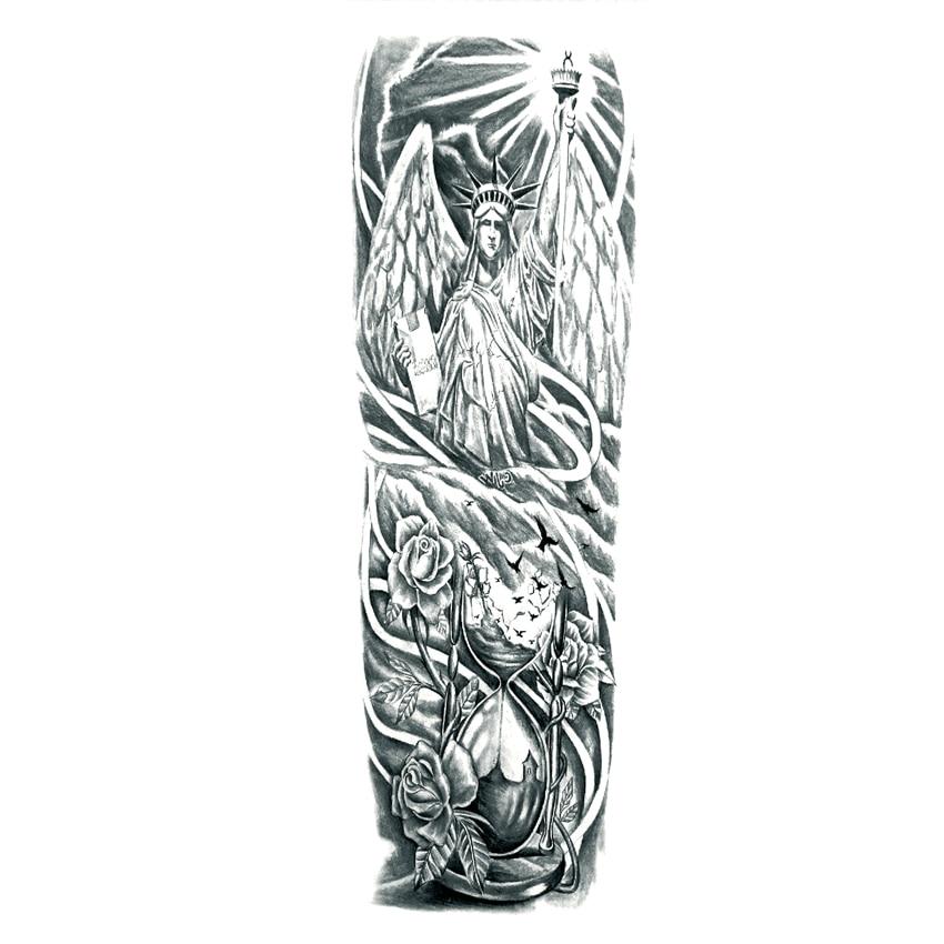 Us 248 17 Offstatua Wolności Wodoodporny Tymczasowy Tatuaż Body Art Dla Pełne Ramię Tatuaż Wolność I Miłość Henna Fałszywy Tatuaż Naklejki ścienne